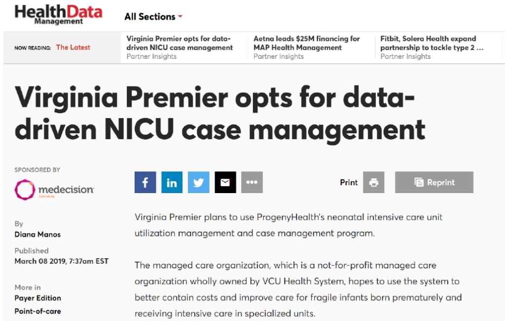 VA Premier Opts for Data Driven NICU CM